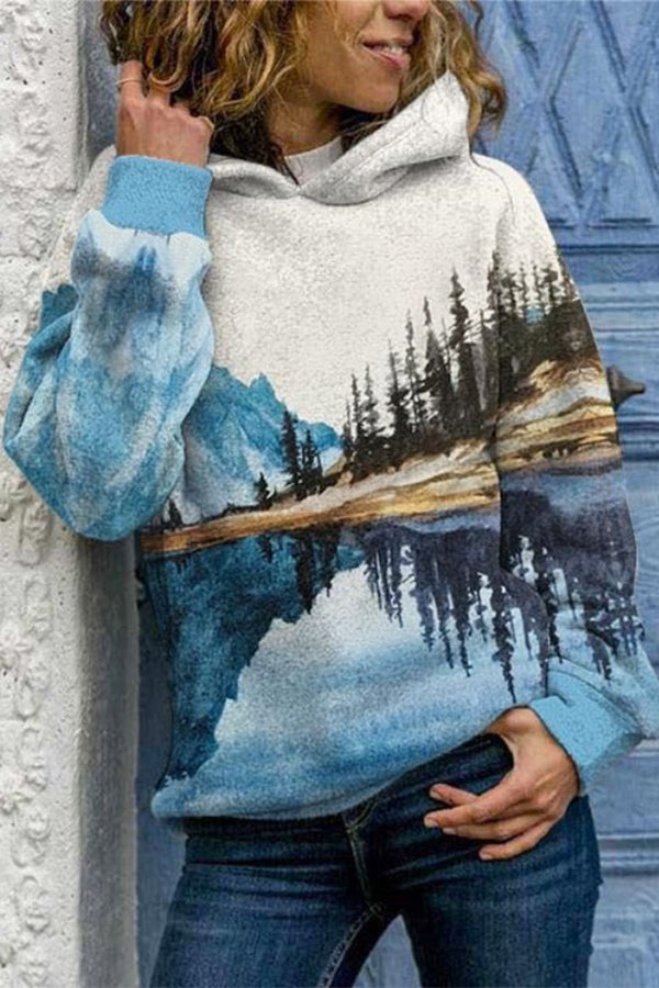 Symmetrical Nature Landscape Mountain Forest Reflection River Print Hoodie