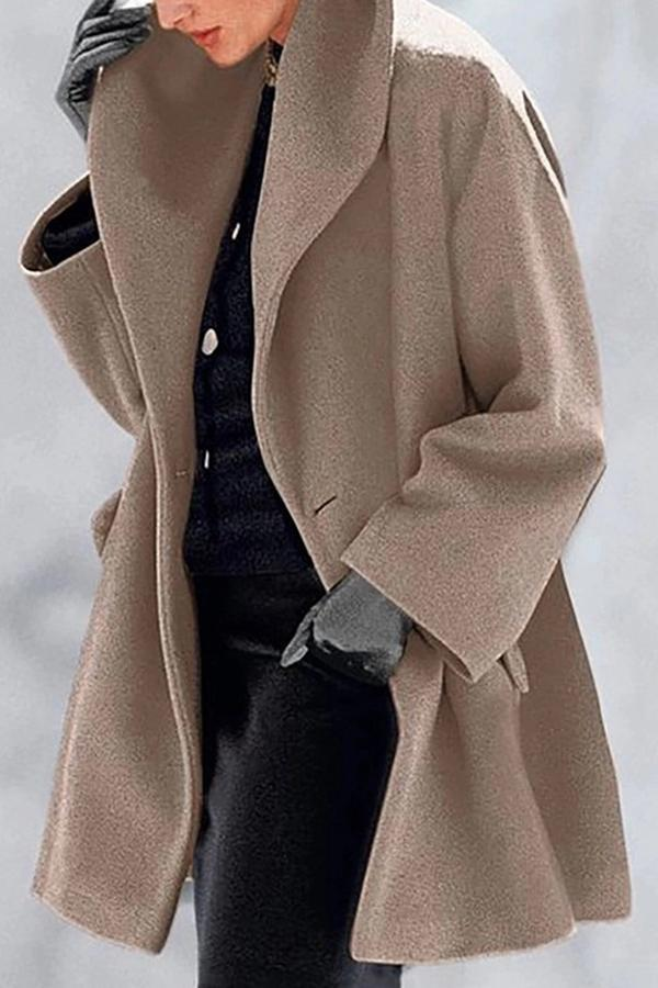 Solid Lapel Collar Side Pockets Casual Coat