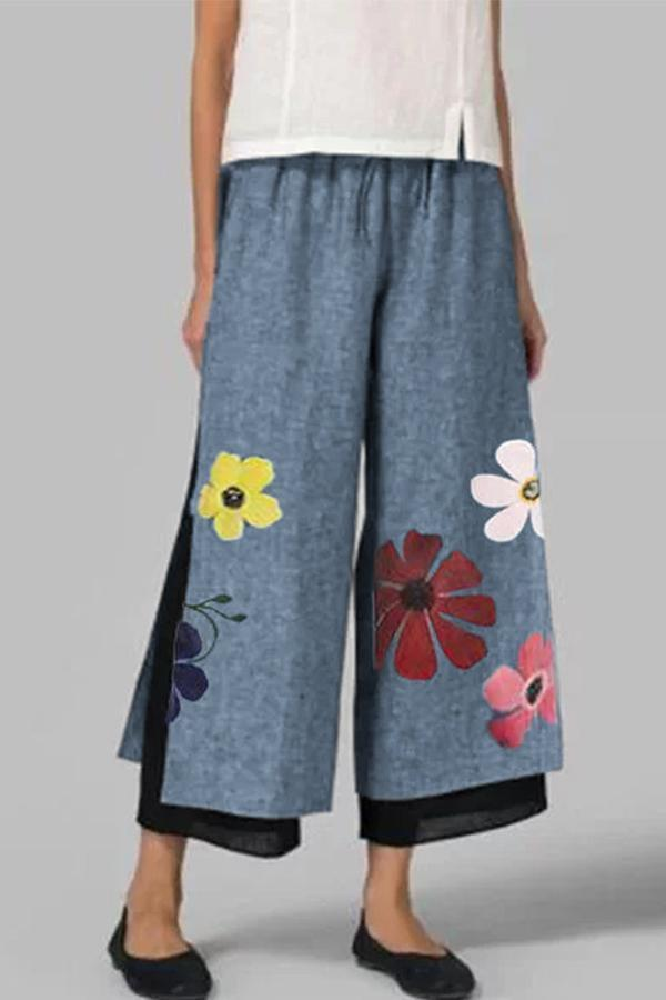 Floral Printed Two Layer Elastic Shift Pants