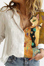 Abstract Artistic Lifelike Cat With Green Eyes Bird Graphic Print Buttoned Blouse