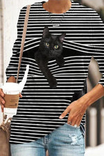 Lifelike Black Cat Come Out Front Striped Print Casual T-shirt