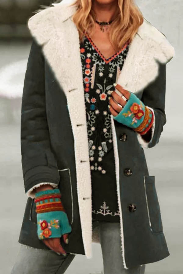 Street Vintage Solid Color-block Buttoned Shawl Collar Fuzzy Coat
