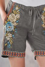 Casual Embroidery Loose High Waist Short Pants