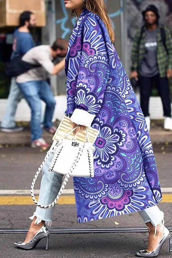 Women Trendy Temperament Purple Gradient Floral Jacquard Long Coat