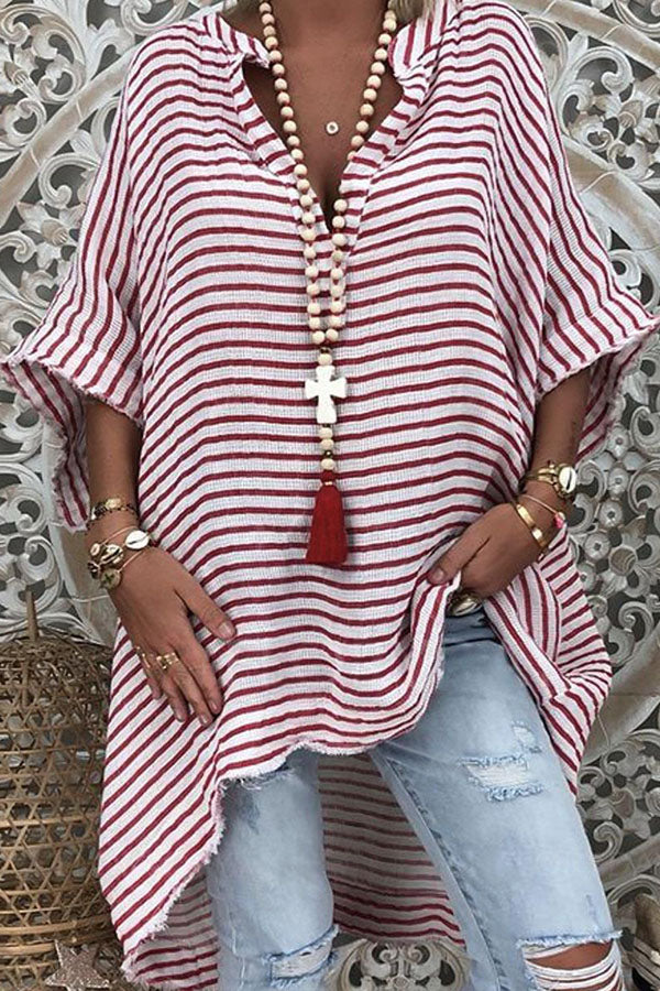 Striped Print Paneled Buttoned V-neck High Low Casual Blouse