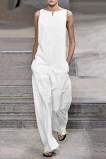 Sleeveless Solid Linen Jumpsuit