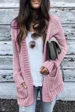 Solid Knitted Ribbed Classic Simple Open Front Paneled Pockets Cardigan