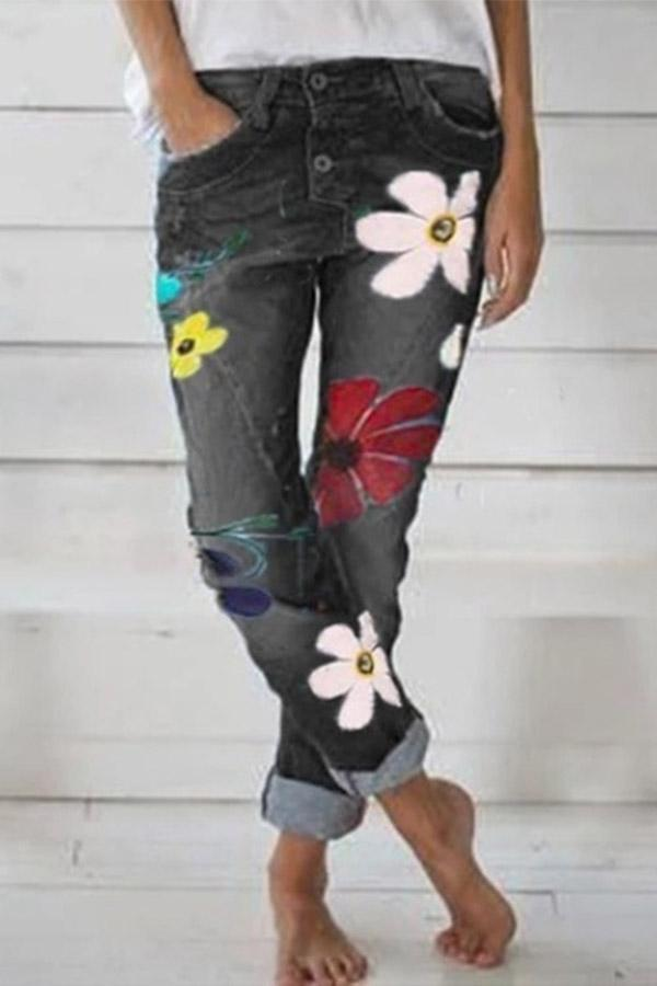 Casual Denim Floral Print Long Pants