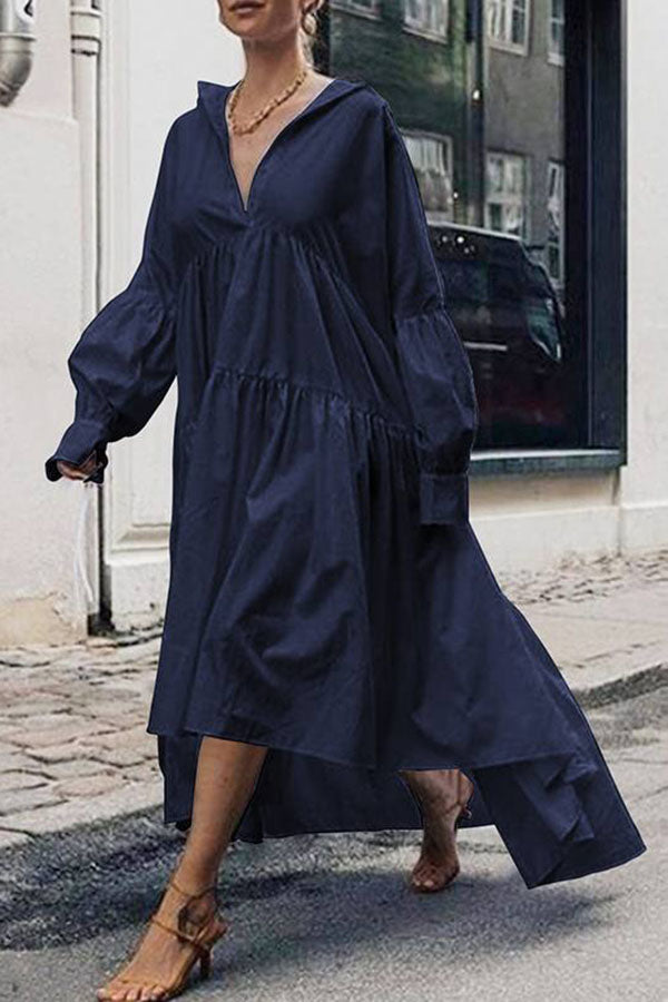 Casual V Neck Solid Loose Irregular Maxi Dress