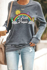 I Hate People Cartoon Rainbow Sun Cloud Bear Print Paneled T-shirt