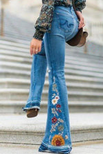 Casual Embroidery Mid Waist Pants