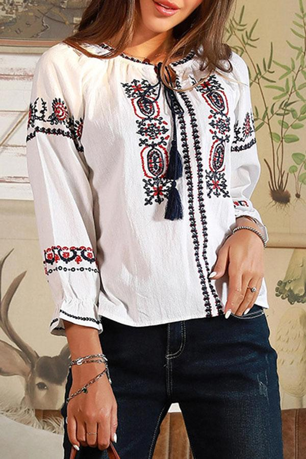 Floral Embroidery Tassel Drawstring Blouse