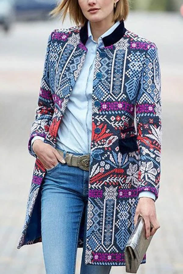 Retro Geometric Floral Jacquard Buttoned Pockets Coat
