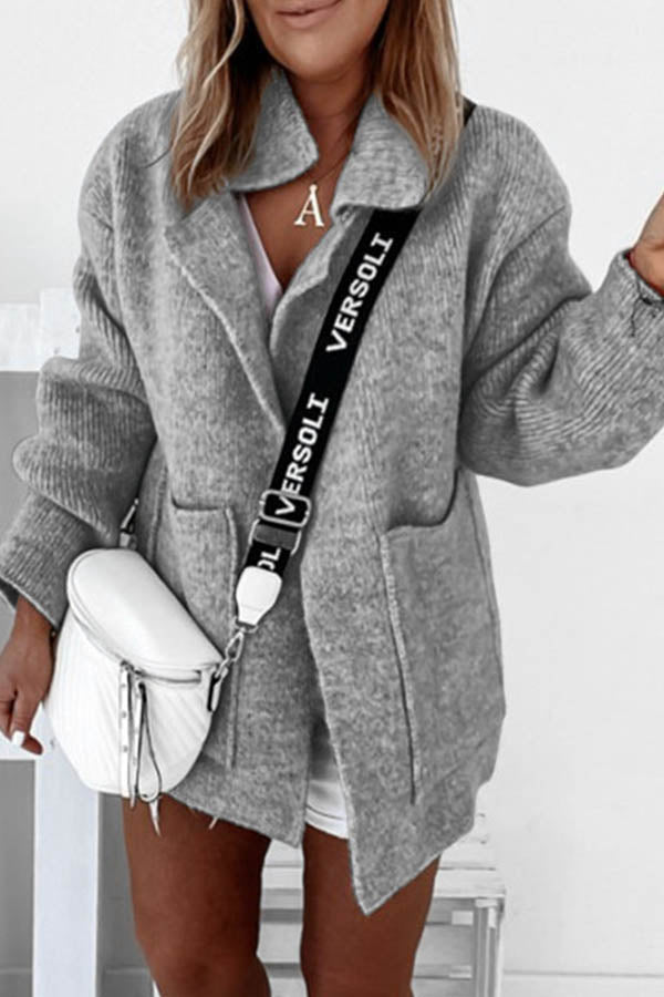Solid Knitted Lapel Collar Ribbed Pockets Casual Coat