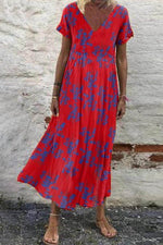 Vintage V-neck Floral Print Paneled Pleated A-line Maxi Dress