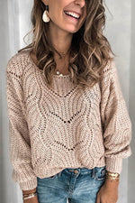Tweed Ribbed Knitted Hollow Out Solid V-neck Casual Sweater