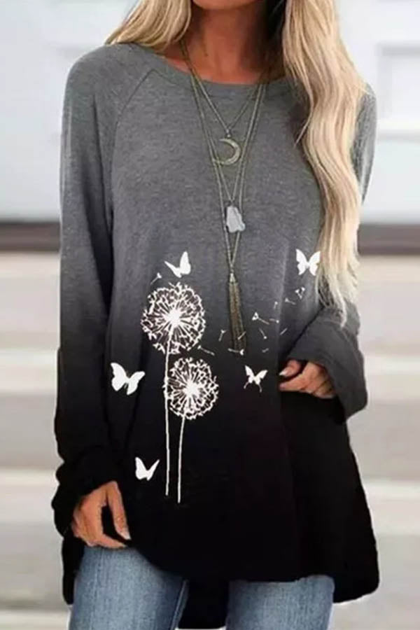 Sweety Gradient Butterfly Dandelion Print Crew Neck T-shirt