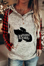 Mama Bear Letter Print Plaid Sleeves Color-block Drawstring Casual Hoodie