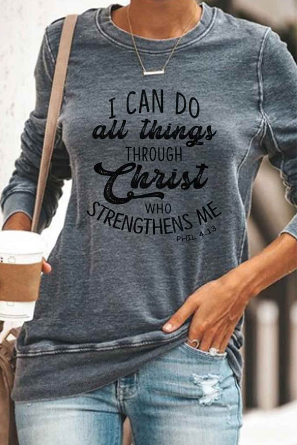 I Can Do All Things Through Christ Letter Print Casual Women T-shirt