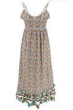 Bohemian Paneled Sleeveless Floral Maxi Dress