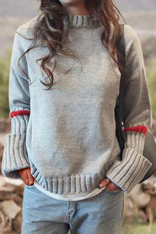 Striped Jacquard Knitted Ribbed Stand Collar Simple Sweater