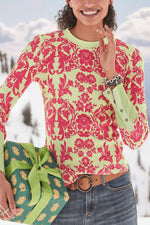 Casual Print Round Pullover T Shirt