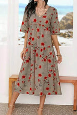 Lady Red Floral Print Pleated Frill Hem Half Sleeves Midi Dress