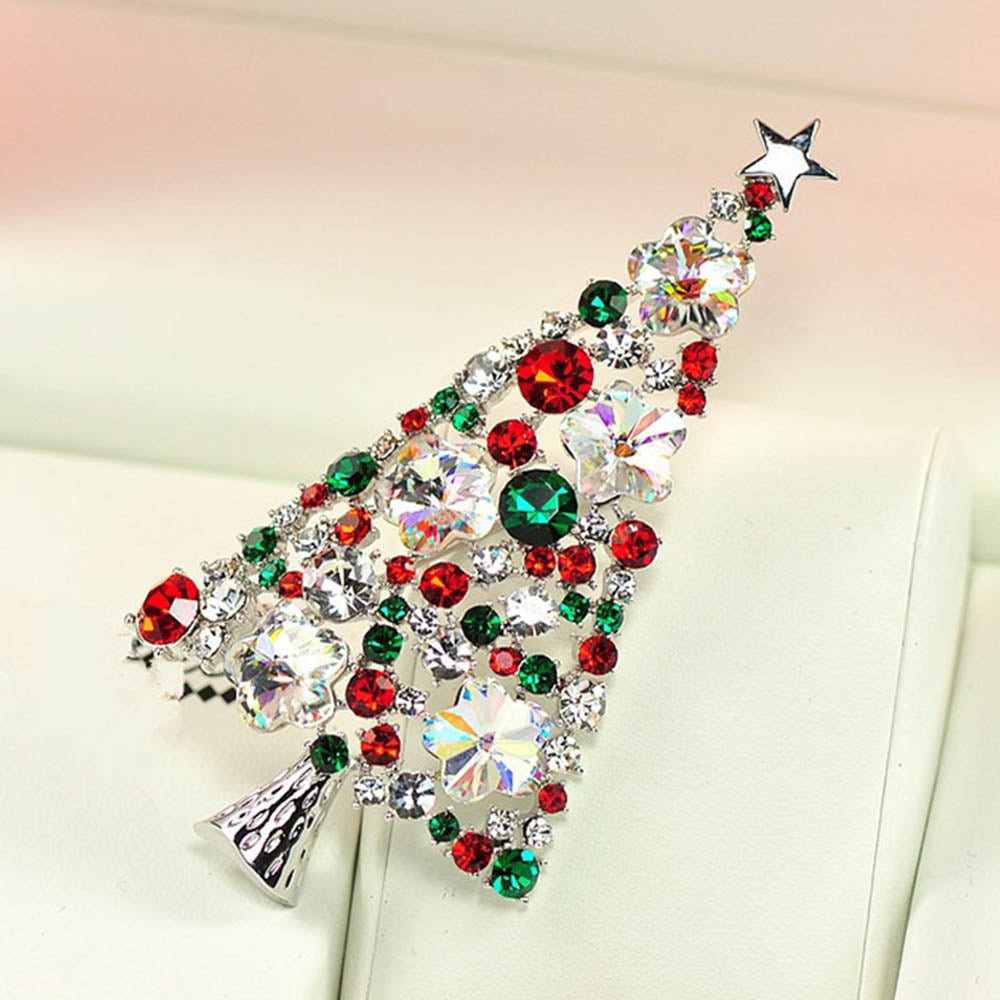Shining Colorful Artificial Gems Christmas Tree Shape Lovely Brooch