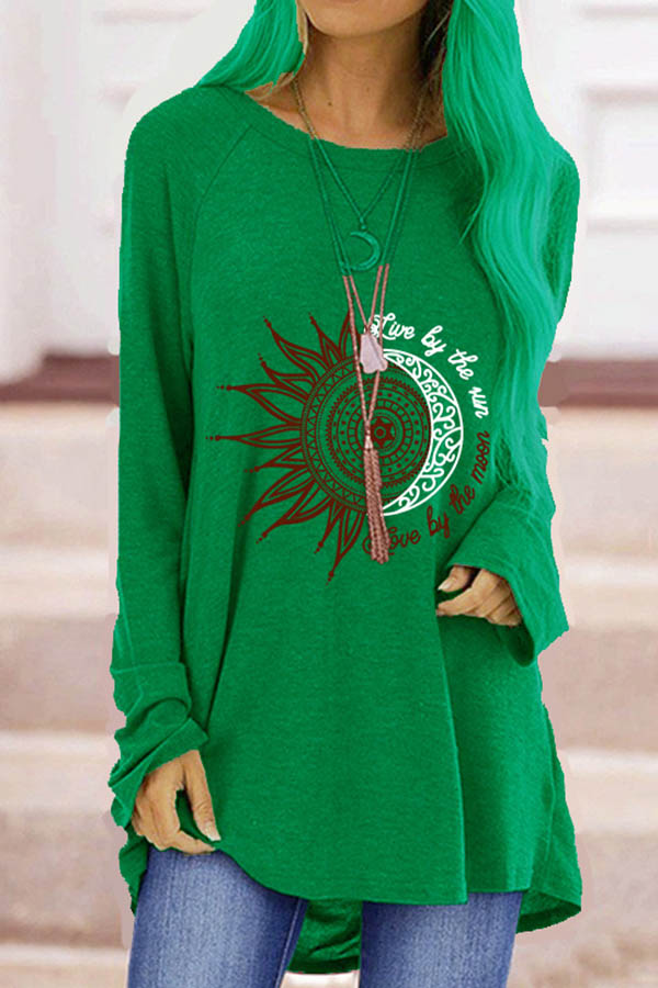 Live By The Sun Love By The Moon Ancient Sun Moon Print Raglan Sleeves T-shirt