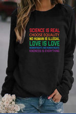 Letter With Rainbow Colors Print Casual Sweatshirt