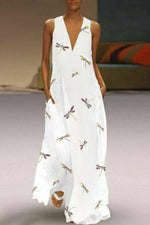 Dragonfly Print V-neck Sleeveless Maxi Dress