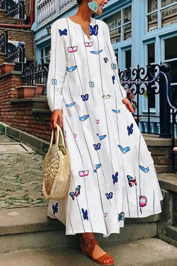 Casual V Neck Butterfly Long Sleeves Maxi Dress