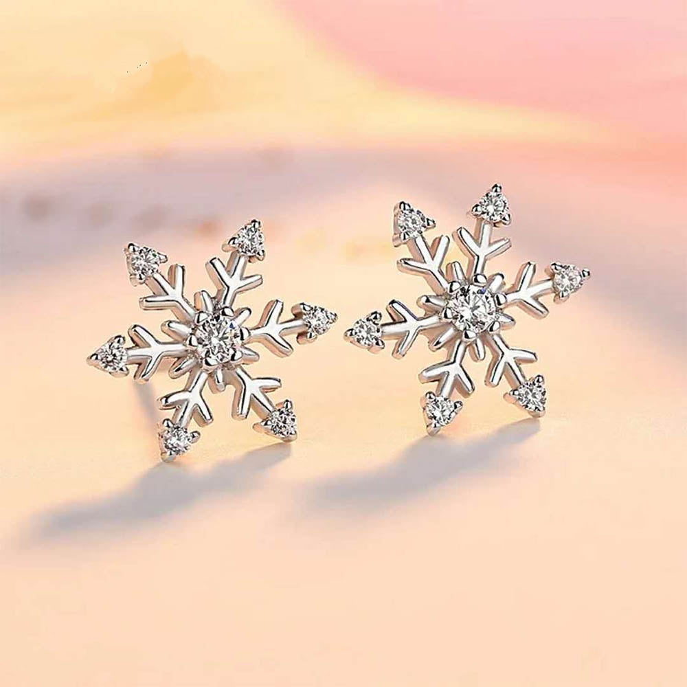 Christmas Holiday Snowflake Glass Gem Plating Earrings