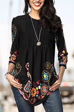 Elegant Floral Print Paneled Buttoned Pleated 3/4 Sleeves Blouse