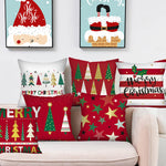 Merry Christmas Tree Different Pattern Jacquard Festive Pillow Case
