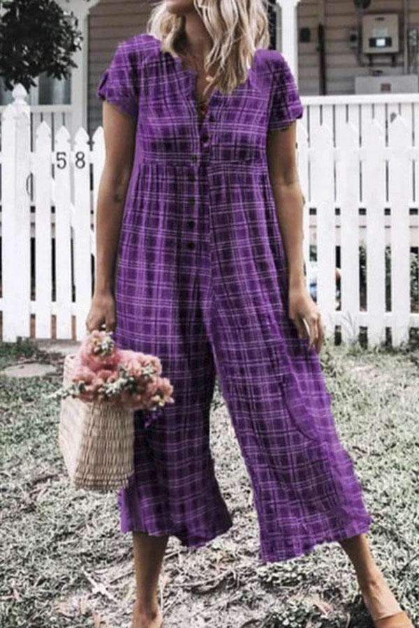 Plaid Print Buttoned Paneled Vintage Wide Leg Jumpsuit