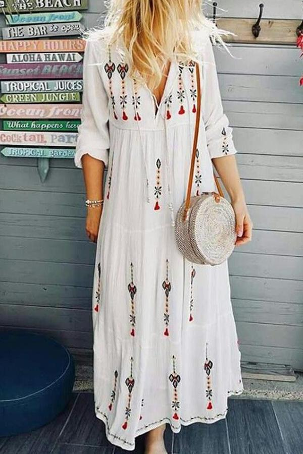 Floral Print V-neck Loose Maxi Dress