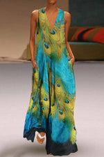 Ethnic Peacock Print V-neck Sleeveless Maxi Dress