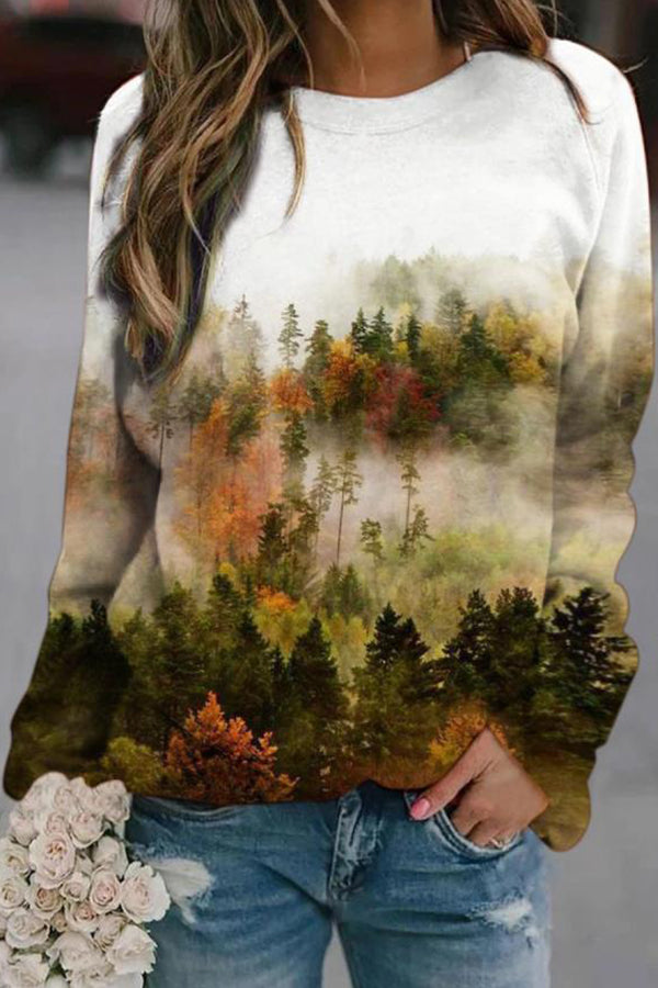 Forest In Misty Gradient Nature Landscape Jacquard Literary T-shirt
