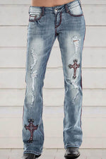 Cross Embroidery Paneled Cutout Pockets Street Fashion Jeans