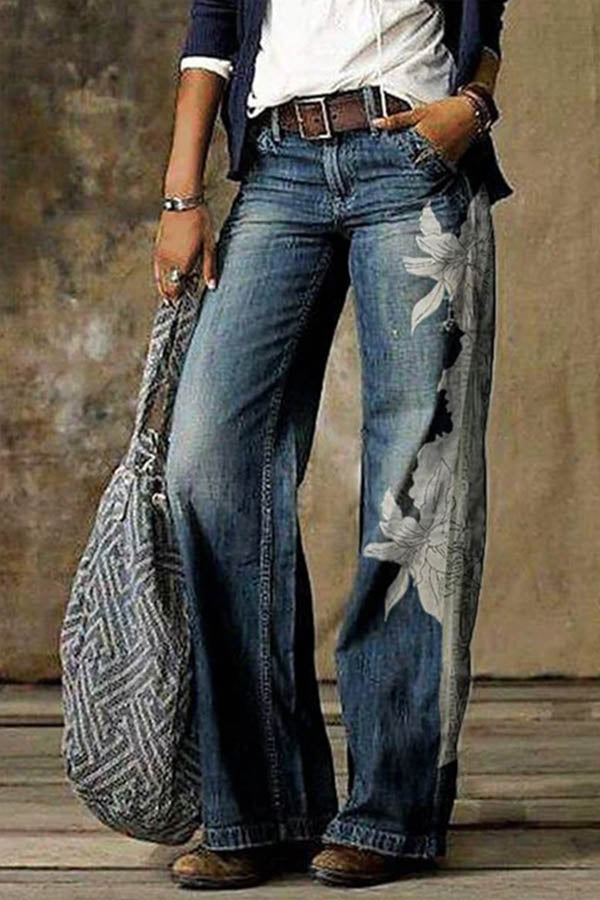 Women Vintage Floral Print Pockets High Waist Wide Leg Jeans