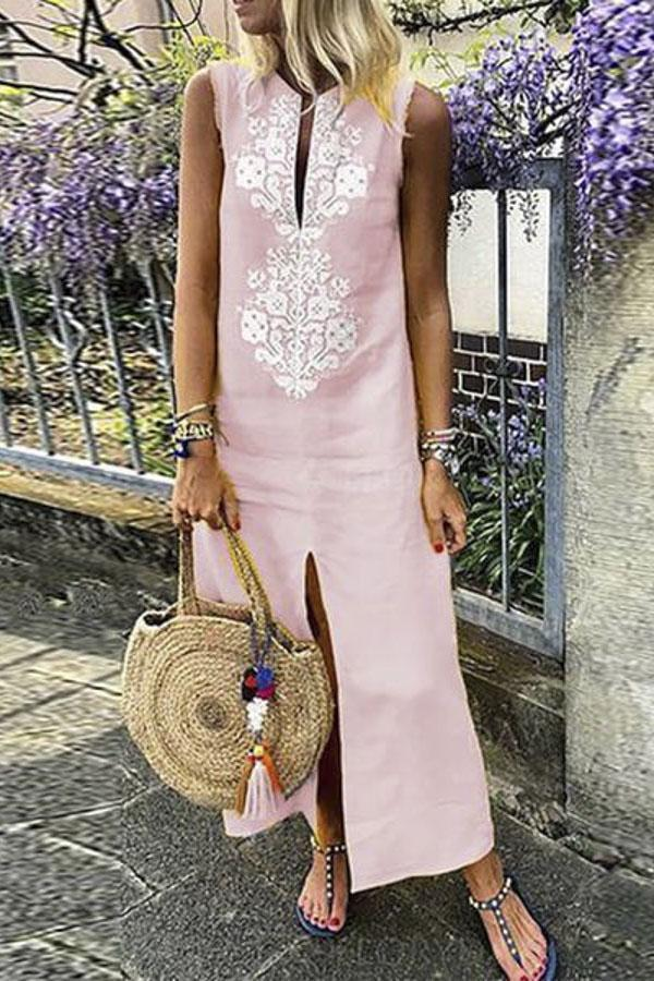 Floral Embroidery Sleeveless Maxi Dress