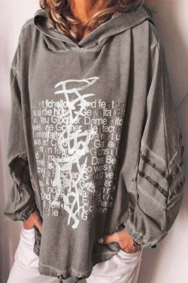 Graffiti Letter Striped Print Casual Daytime Hoodie
