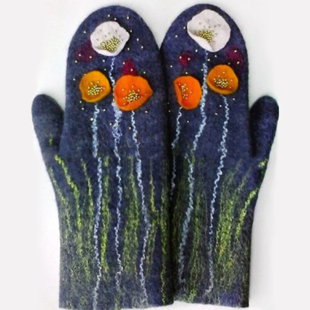 Lovely Floral Jacquard Warm Winter Holiday Mittens Gloves
