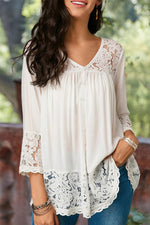 Solid Casual V Neck Hollow Lace Blouse