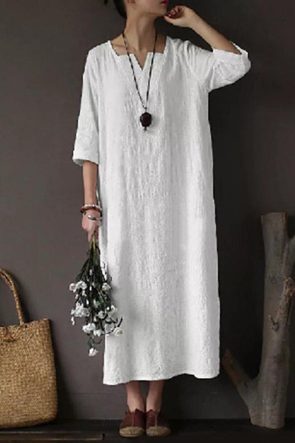 Loose V Neck Half Sleeves Solid Maxi Dress