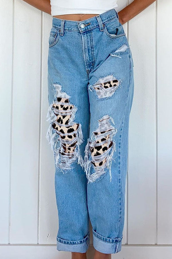 Street Cutout Leopard Print Pockets Buttoned Blue Long Jeans