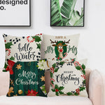 Festive Rural Merry Christmas Letter Elk Jacquard Pillow Case