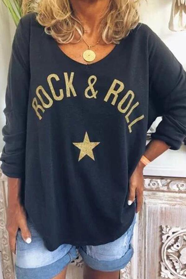 Casual Letter Print Long Sleeves T-shirt