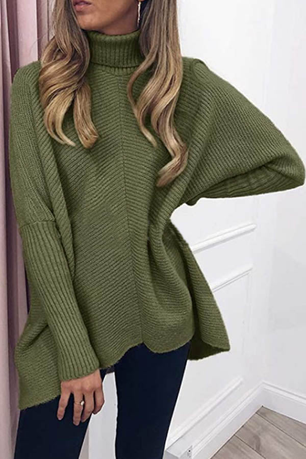 Classic Daytime Solid Turtleneck Knitted Ribbed Sweater